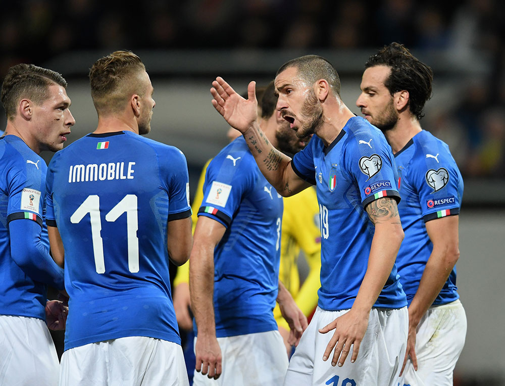 Andrea Belotti, Ciro Immobile, Leonardo Bonucci, Marco Parolo and Giorgio Chiellini during the Sweden-Italy FIFA 2018 World Cup Qualifier Play-Off first leg at Friends Arena on November 10, 2017 in Solna, Sweden. (Photo by Claudio Villa/Getty Images)