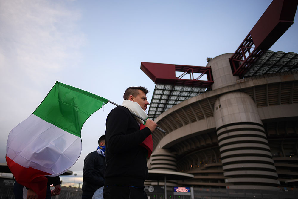 An Italy fan outside of San Siro before the Italy-Sweden FIFA 2018 World Cup Qualifier Play-Off second leg on November 13, 2017. (Photo by Claudio Villa/Getty Images)
