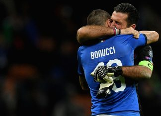 Leonardo Bonucci and Gianluigi Buffon at the end of the Sweden-Italy FIFA 2018 World Cup Qualifier Play-Off second leg at Stadio San Siro on November 13, 2017 in Milan, Italy. (Photo by Claudio Villa/Getty Images)