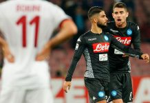 Lorenzo Insigne and Jorginho celebrating during Napoli-Milan at Stadio San Paolo on November 18, 2017. (CARLO HERMANN/AFP/Getty Images)