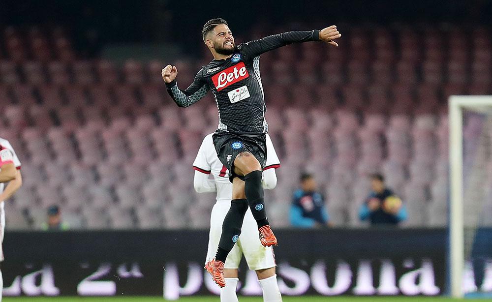 Lorenzo Insigne celebrating during Napoli-Milan at Stadio San Paolo on November 18, 2017.  (Photo by Francesco Pecoraro/Getty Images)