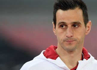 Nikola Kalinić before Napoli-Milan at Stadio San Paolo on November 18, 2017. (Photo by Francesco Pecoraro/Getty Images)