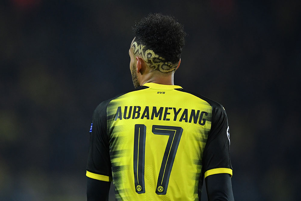 Pierre-Emerick Aubameyang during Borussia Dortmund-Tottenham Hotspur at Signal Iduna Park on November 21, 2017. (Photo by Stuart Franklin/Getty Images)