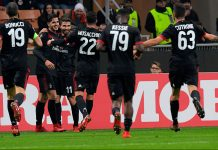 Leonardo Bonucci, André Silva, Fabio Borini, Mateo Musacchio, Franck Kessié and Patrick Cutrone celebrating during Milan-Austria Wien at Stadio San Siro on November 23, 2017. (MIGUEL MEDINA/AFP/Getty Images)