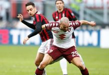 Giacomo Bonaventura and Lorenzo De Silvestri during Milan-Torino at Stadio San Siro on November 26, 2017. (@acmilan.com)