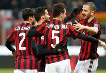 Davide Calabria, Suso, Giacomo Bonaventura and Leonardo Bonucci celebrating during Milan-Hellas at Stadio San Siro on December 13, 2017. (@acmilan.com)