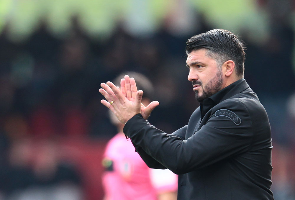 Gennaro Gattuso during Benevento-Milan at Stadio Ciro Vigorito on December 3, 2017. (CARLO HERMANN/AFP/Getty Images)