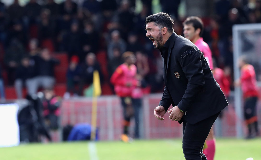 Gennaro Gattuso during Benevento-Milan at Stadio Ciro Vigorito on December 3, 2017. (Photo by Maurizio Lagana/Getty Images)