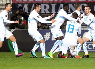 Rijeka players celebrating during Rijeka-Milan at Stadion HNK Rijeka on December 7, 2017. (/AFP/Getty Images)