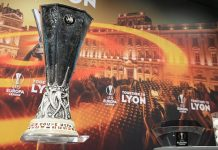 The Europa League trophy displayed prior to the draw for the round of 32 of the UEFA Europa League at the UEFA headquarters in Nyon on December 11, 2017. (FABRICE COFFRINI/AFP/Getty Images)