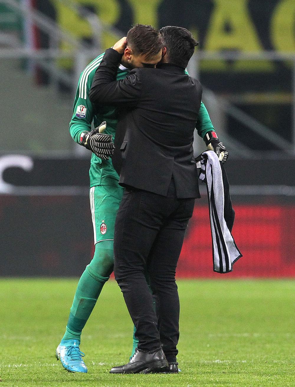 Gianluigi Donnarumma and Gennaro Gattuso at the end of Milan-Hellas at Stadio San Siro on December 13, 2017. (Photo by Marco Luzzani/Getty Images)