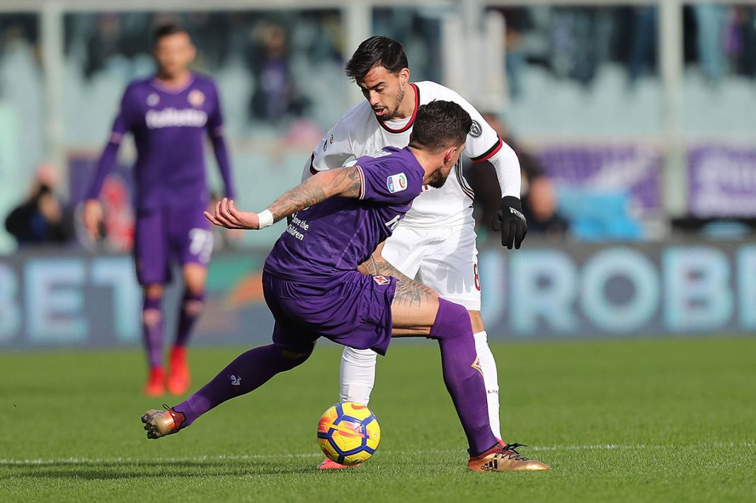 Suso and Cristiano Biraghi during Fiorentina-Milan at Stadio Artemio Franchi on December 30, 2017. (Photo by Gabriele Maltinti/Getty Images)