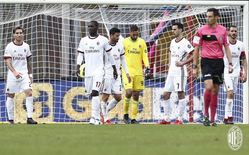 Lucas Biglia, Cristian Zapata, Mateo Musacchio, Gianluigi Donnarumma, Nikola Kalinić and Leonardo Bonucci at the end of Benevento-Milan at Stadio Ciro Vigorito on December 3, 2017. (@acmilan.com)
