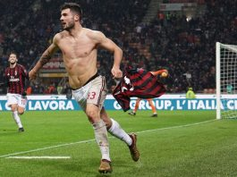Patrick Cutrone celebrating during Milan-Inter at Stadio San Siro on December 27, 2017. (@acmilan.com)