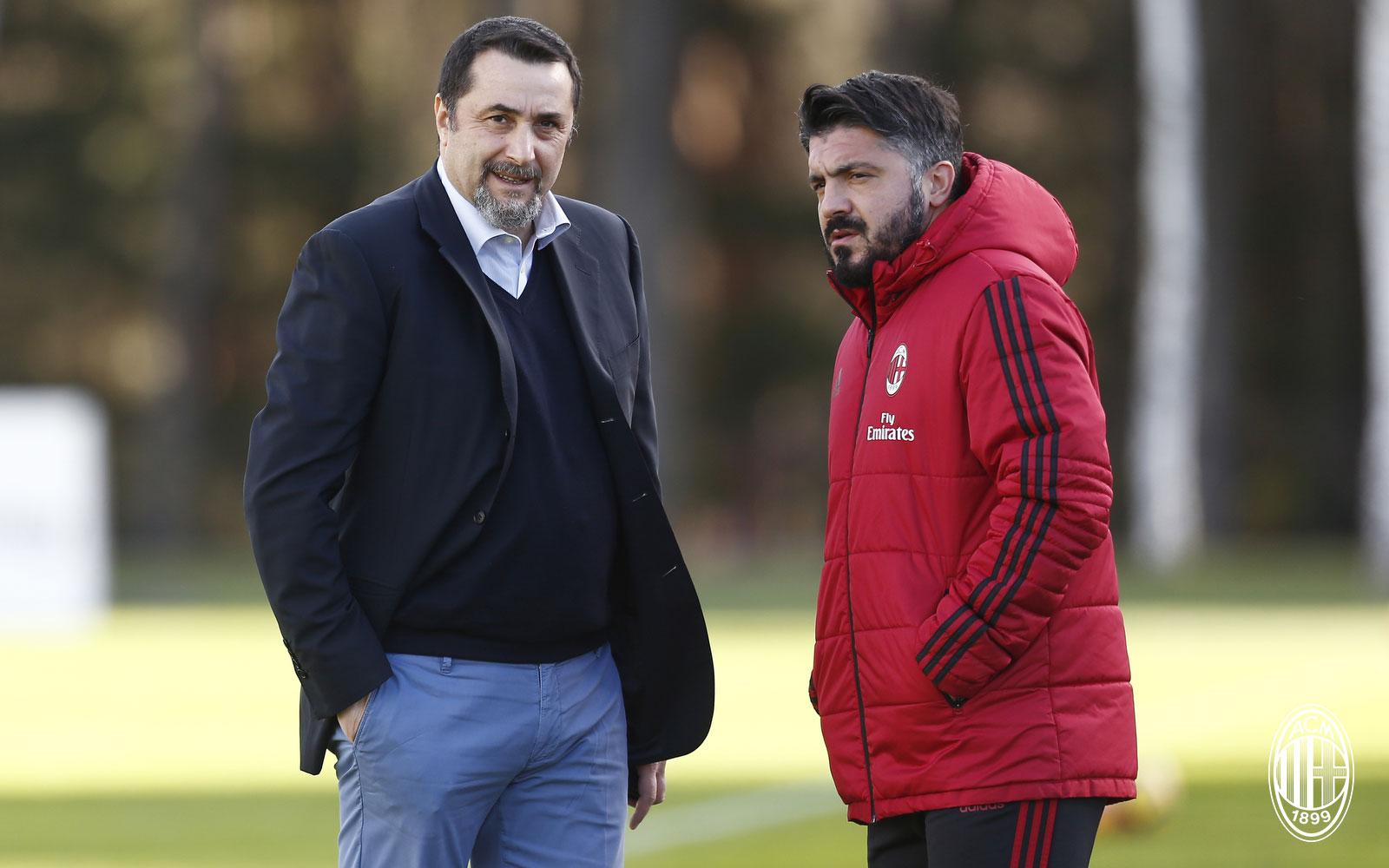 Massimiliano Mirabelli and Gennaro Gattuso at training center Milanello on January 4, 2018. (@acmilan.com)