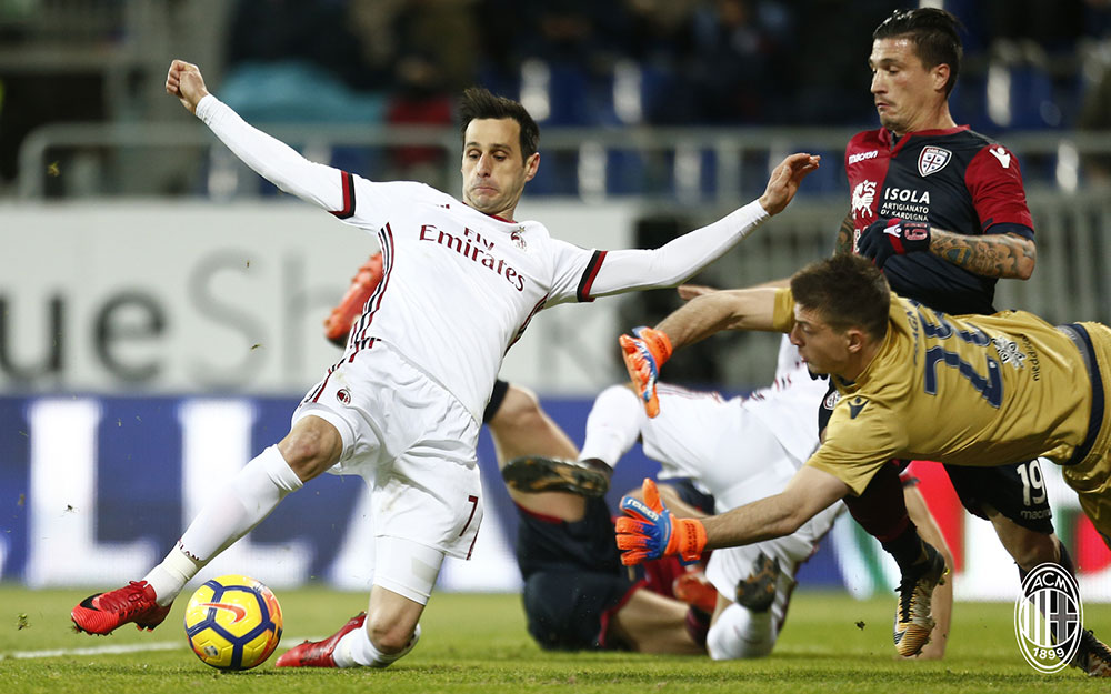 Nikola Kalinić during Cagliari-Milan at Sardegna Arena on January 21, 2018. (@acmilan.com)