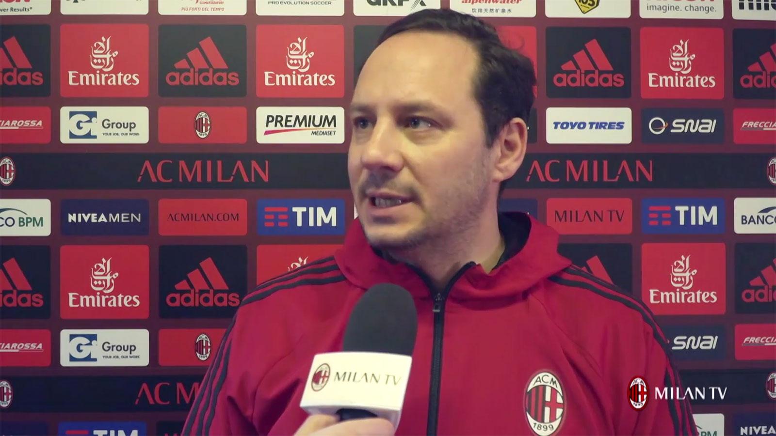 Stefano Mazzoni talking to MilanTV at Milanello on January 18, 2018. (@acmilan.com)