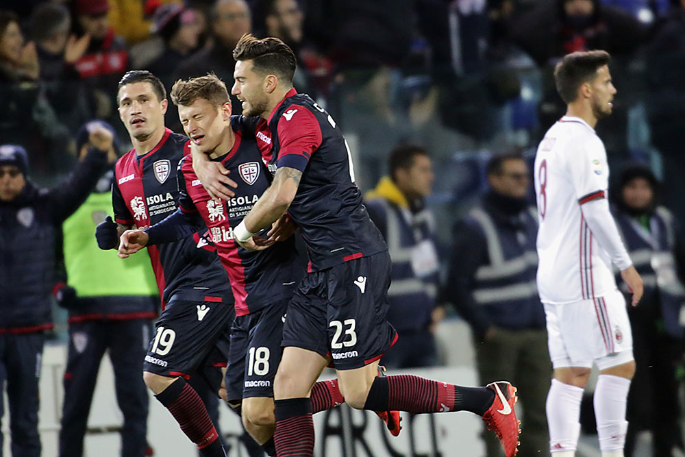 Nicolò Barella celebrating during Cagliari-Milan at Sardegna Arena on January 21, 2018. (Photo by Enrico Locci/Getty Images)