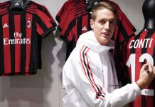 Andrea Conti at the Milan Megastore on November 16, 2017. (@acmilan.com)