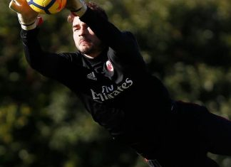 Gabriel during training at Milanello. (@acmilan.com)
