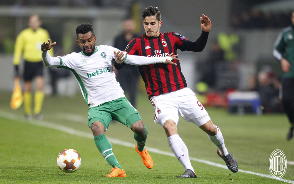 André Silva during Milan-Ludogorets at Stadio San Siro on February 22, 2018. (@acmilan.com)