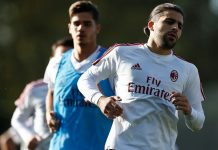 Ricardo Rodriguez during training at Milanello. (@acmilan.com)