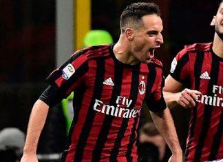 Giacomo Bonaventura, Hakan Çalhanoğlu and Patrick Cutrone celebrating during Milan-Sampdoria at Stadio San Siro on February 18, 2018. (MIGUEL MEDINA/AFP/Getty Images)