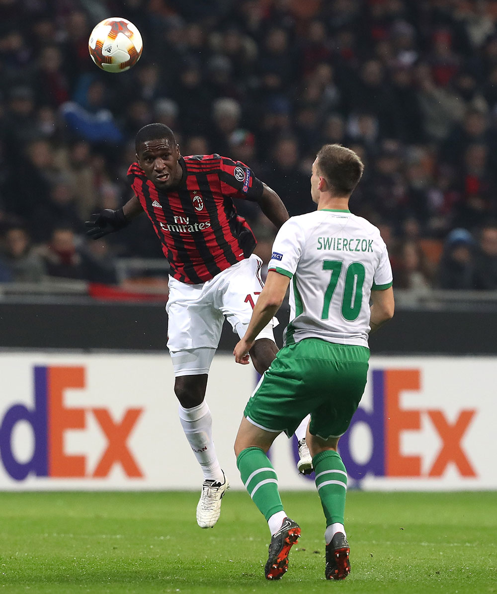 Cristian Zapata and Jakub Świerczok during Milan-Ludogorets at Stadio San Siro on February 22, 2018. (Photo by Marco Luzzani/Getty Images)