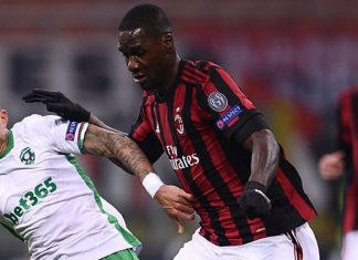 Cristian Zapata and Anicet Abel during Milan-Ludogorets at Stadio San Siro on February 22, 2018. (MARCO BERTORELLO/AFP/Getty Images)