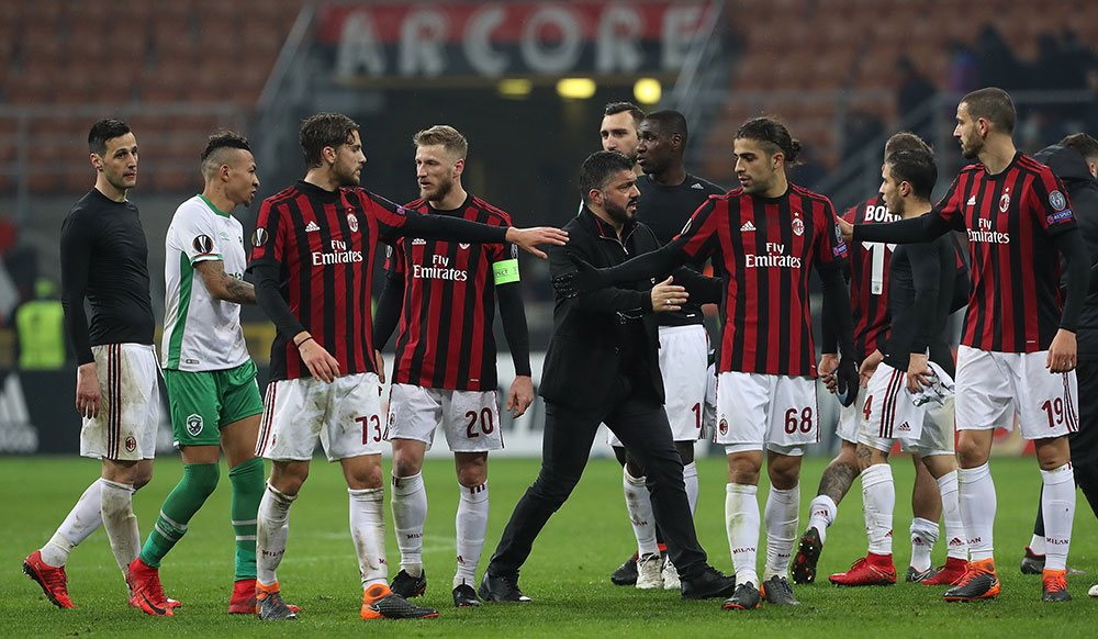 Nikola Kalinić, Manuel Locatelli, Ignazio Abate, Gennaro Gattuso, Cristian Zapata, Antonio Donnarumma, Ricardo Rodriguez, Jose Mauri, Fabio Borini and Leonardo Bonucci celebrating at the end of Milan-Ludogorets at Stadio San Siro on February 22, 2018. (Photo by Marco Luzzani/Getty Images)