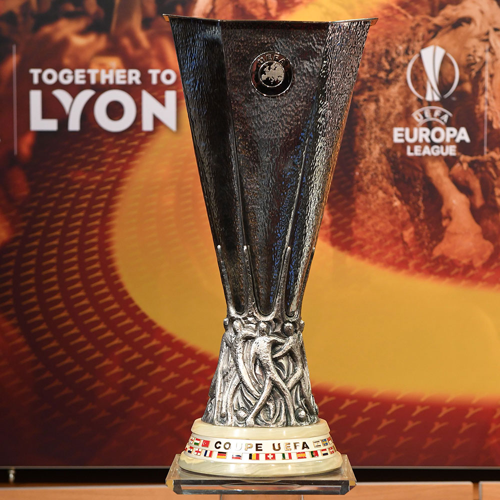 The UEFA Europa League trophy pictured before the draw for the UEFA Europa League round of 16at the UEFA headquarters in Nyon, Switzerland on February 23, 2018. (JEAN-GUY PYTHON/AFP/Getty Images)