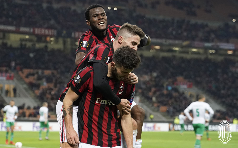 Franck Kessié, Fabio Borini and Patrick Cutrone celebrating during Milan-Ludogorets at Stadio San Siro on February 22, 2018. (@acmilan.com)