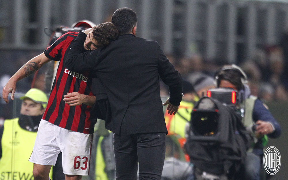 Gennaro Gattuso and Patrick Cutrone during Milan-Ludogorets at Stadio San Siro on February 22, 2018. (@acmilan.com)
