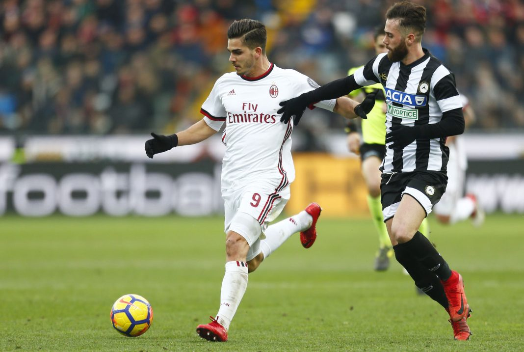 André Silva during Udinese-Milan at Stadio San Siro on February 4, 2018. (@acmilan.com)