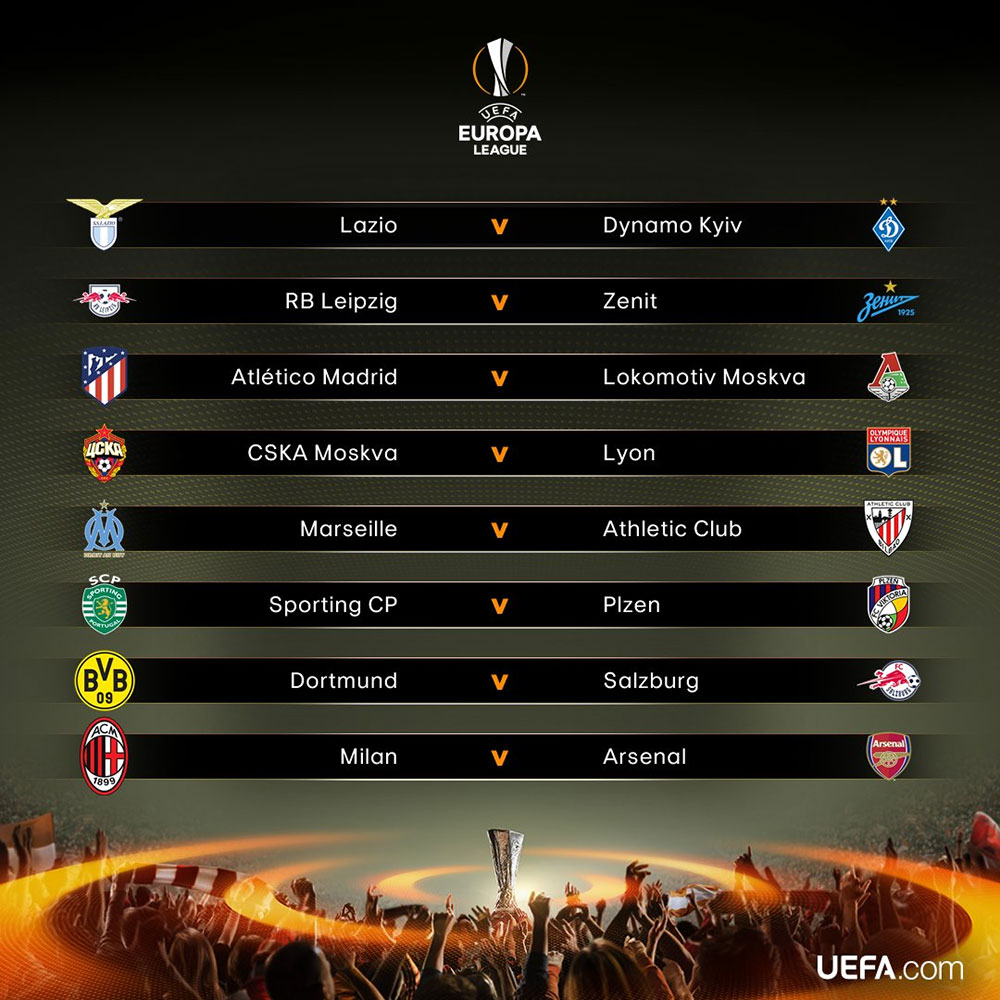 The result of the Europa League Round of 16 draw. (via @EuropaLeague)