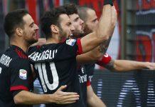 Giacomo Bonaventura, Hakan Calhanoglu, Patrick Cutrone and Leonardo Bonucci celebrating during SPAL-Milan at at Stadio Paolo Mazza on February 10, 2018. (@acmilan.com)