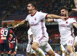 André Silva celebrating during Genoa-Milan at Stadio Luigi Ferraris on March 11, 2018. (@acmilan.com)