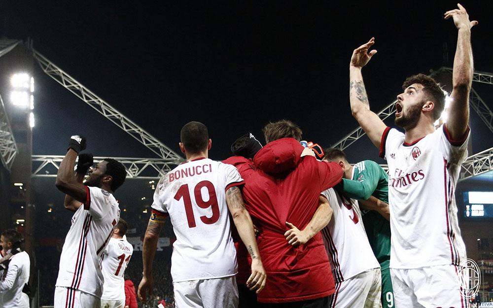 Patrick Cutrone celebrating at the end of Genoa-Milan at Stadio Luigi Ferraris on March 11, 2018. (@acmilan.com)