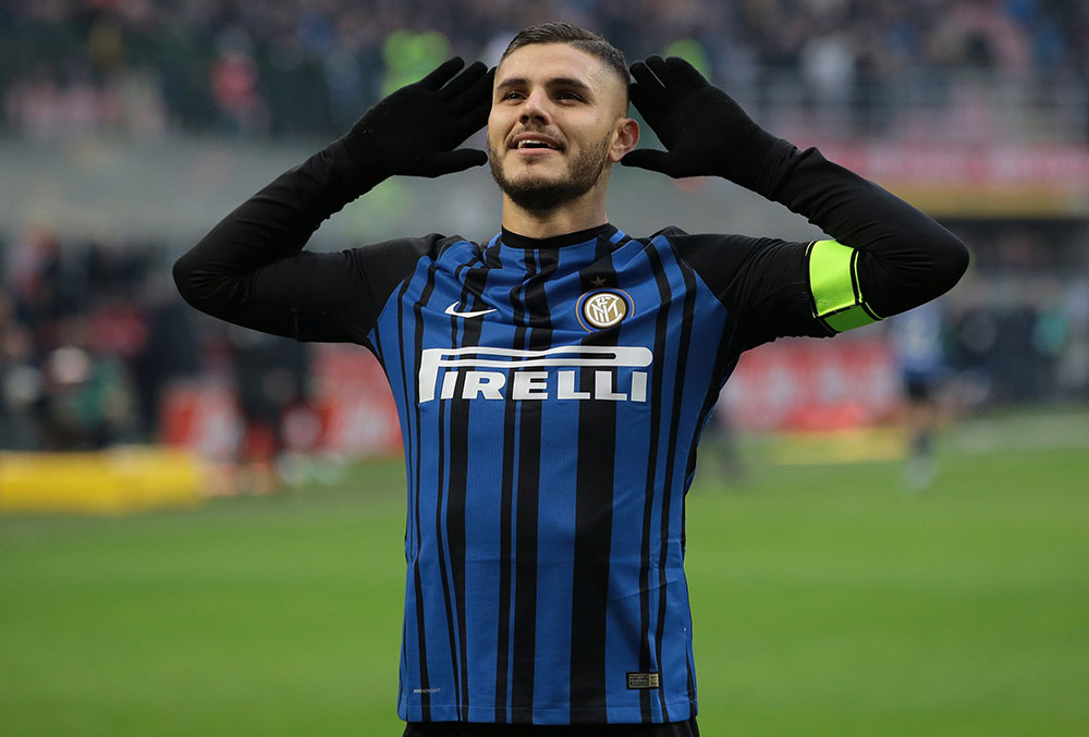 Mauro Icardi celebrating during Inter-Chievo at Stadio San Siro on December 3, 2017. (Photo by Emilio Andreoli/Getty Images)