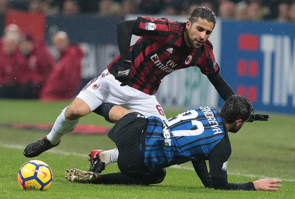 Ricardo Rodriguez and Antonio Candreva during Milan-Inter at Stadio San Siro on December 27, 2018. (Photo by Emilio Andreoli/Getty Images)