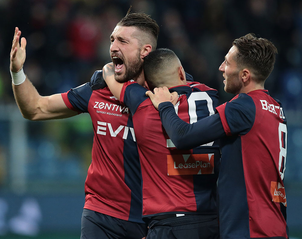 Andrey Galabinov, Gianluca Lapadula and Andrea Bertolacci celebrating during Genoa-Sassuolo at Stadio Luigi Ferraris on January 6, 2018. (Photo by Emilio Andreoli/Getty Images)