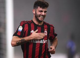 Patrick Cutrone celebrating during Milan-Lazio at Stadio San Siro on January 28, 2018. (MARCO BERTORELLO/AFP/Getty Images)