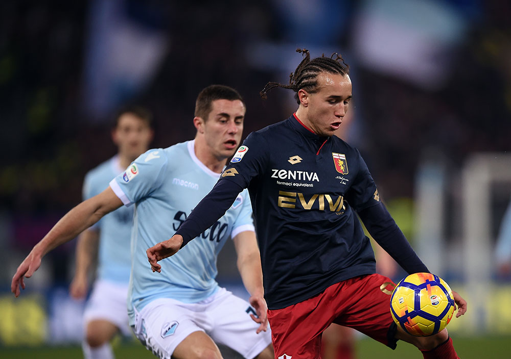 Diego Laxalt during Lazio-Genoa at Stadio Olimpico on Febuary 5, 2018. (FILIPPO MONTEFORTE/AFP/Getty Images)