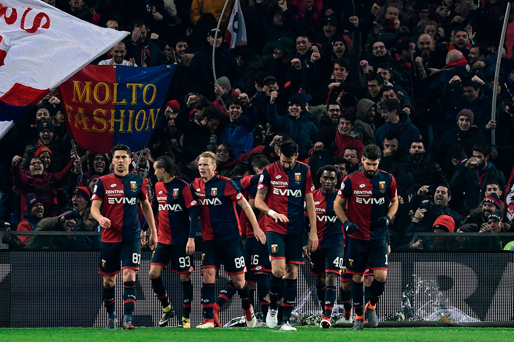 Genoa players celebrating during Genoa-Inter at Stadio Luigi Ferraris on February 18, 2018. (MIGUEL MEDINA/AFP/Getty Images)