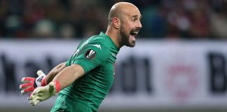 Pepe Reina celebrating during Leipzig-Napoli at the Red Bull Arena on February 22, 2018. (Photo by Ronny Hartmann/Bongarts/Getty Images)