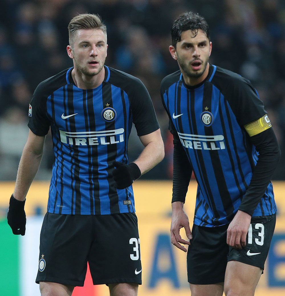 Milan Škriniar and Andrea Ranocchia during Inter-Benevento at Stadio San Siro on February 24, 2018. (Photo by Emilio Andreoli/Getty Images )