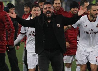 Gennaro Gattuso and the squad celebrating at the end of Lazio-Milan at Stadio Olimpico on February 28, 2018. (Photo by Paolo Bruno/Getty Images)