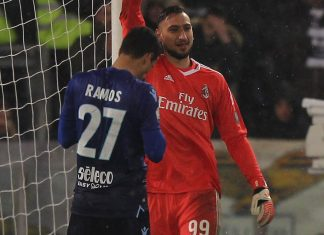 Gianluigi Donnarumma celebrating during Lazio-Milan at Stadio Olimpico on February 28, 2018. (Photo by Paolo Bruno/Getty Images)