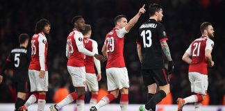 Arsenal players celebrating during Arsenal-Milan at the Emirates Stadium on March 15, 2018. (BEN STANSALL/AFP/Getty Images)