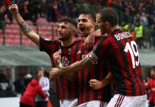 Patrick Cutrone, André Silva and Leonardo Bonucci celebrating during Milan-Chievo at Stadio San Sro on March 18, 2018. (Photo by Marco Luzzani/Getty Images)